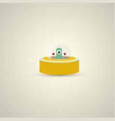flat funny orange alien spaceship logo vector image vector image
