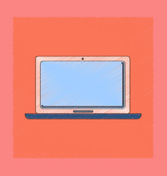 Flat shading style icon technology laptop vector