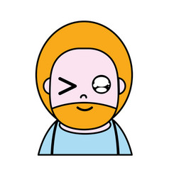 Funny man with beard and hairstyle to avatar vector