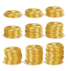 gold coins stacks realistic isolated vector image vector image