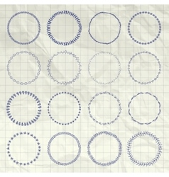 Hand drawn circle logo and badge elements vector