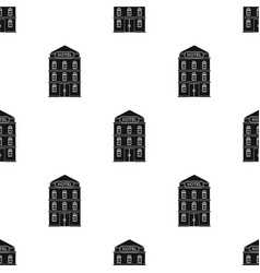 Hotel building icon in black style isolated on vector