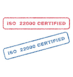 Iso 22000 certified textile stamps vector