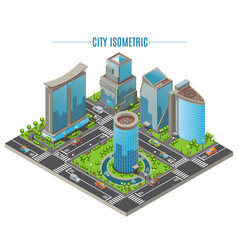isometric business city concept vector image vector image