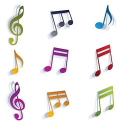 Musical notes set vector image