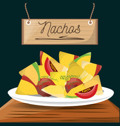 Nachos mexican food menu restaurant vector