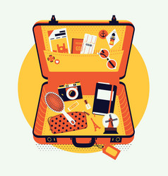 Open suitcase with items vector