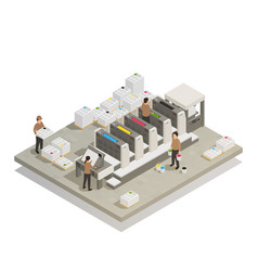 Printing production process isometric composition vector