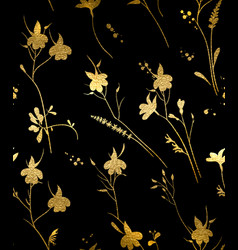 Seamless gold floral pattern on a black background vector