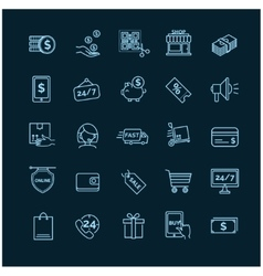 Shopping e-commerce icons on a black background vector