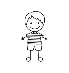 Silhouette hand drawing cute boy happy icon vector