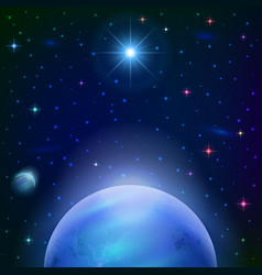 space background with planet and sun vector image vector image