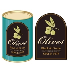 Tin black and green olives vector image vector image