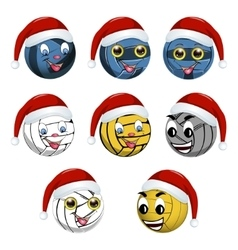 Volleyball ball in the hat of santa claus vector