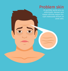 young man face problem wrinkles vector image vector image