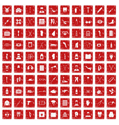 100 medical care icons set grunge red vector