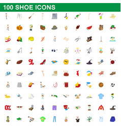 100 shoe icons set cartoon style vector image