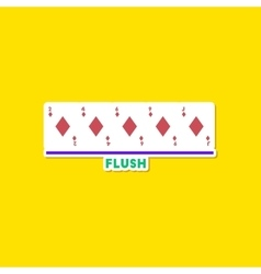 Paper sticker on stylish background poker flush vector