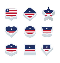 Liberia flags icons and button set nine styles vector