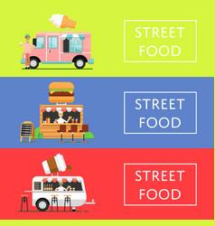 Street food festival flyers set vector