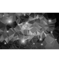 Black and white abstract background shiny polygon vector