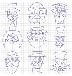 Hipster faces with mustaches and sunglasses vector image