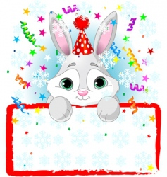 baby bunny new year frame vector image