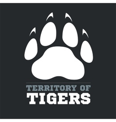 Tiger footprint on dark background - vector image