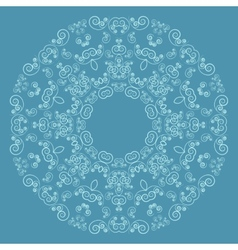 Round lacy pattern on blue background vector