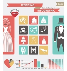 Wedding infographic set with flat iconswedding vector