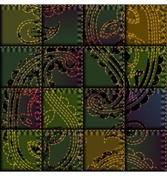 Patchwork with embroidery of paisley ornament vector