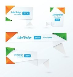 Origami label design orange green blue vector