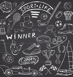 Sport life sketch doodles elements hand drawn set vector