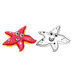 Animal outline for starfish with happy face vector