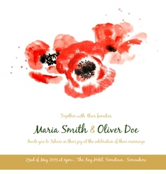 background with red watercolor poppies vector image vector image