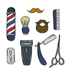 barbershop doodle icons vector image vector image