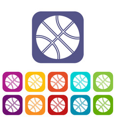 basketball ball icons set vector image