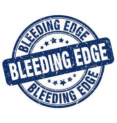 Bleeding edge blue grunge stamp vector