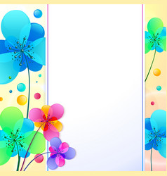 Bright flowers background greeting card vector image
