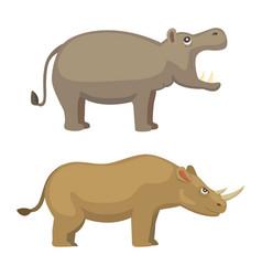 cartoon funny rhinoceros and hippo vector image