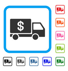 Cash delivery framed icon vector