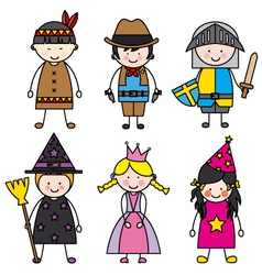 children dressed vector image vector image