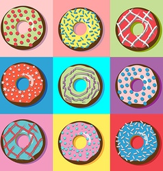 Donuts with various filling and sprinkles vector