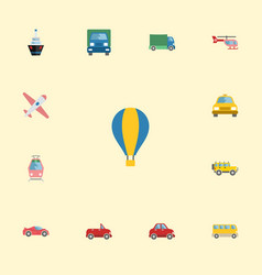 Flat icons jeep airship aircraft and other vector