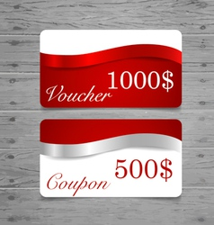 Gift Cards sale coupon voucher with red ribbons vector image vector image