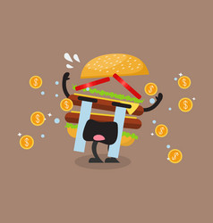 hamburger character crying out in money tears vector image