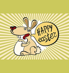 Happy easter card with easter chocolate bunny vector image