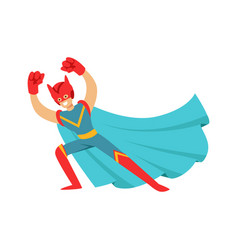 hero in comics costume with cape and helmet with vector image vector image
