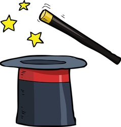 magic wand and a top hat vector image vector image