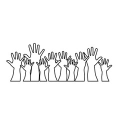 people hands up together icon vector image vector image